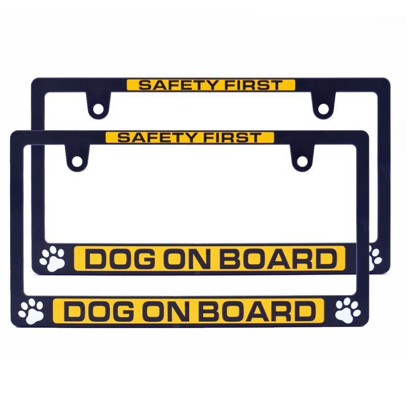 画像1: ライセンスフレーム  / DOG ON BOARD 2枚セット ナンバープレート ナンバーフレーム 車用 2枚 車検対応 (1)