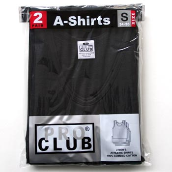 画像1: PRO CLUB  / A-SHIRTS 2pcs BLACK (1)